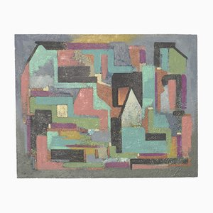 Abstraktes Ölgemälde auf Hartfaserplatte, 1956