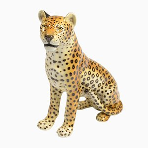 Italian Porcelain Leopard Sculpture by Ronzan