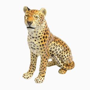 Italienische Porzellan Leoparden Skulptur von Ronzan
