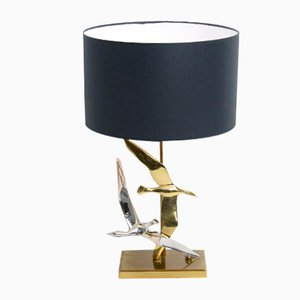 Decorative Silver and Gold Colored Bird Table Lamp, 1970s