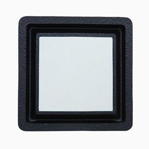 Minimalistischer schwarzer Metall Spiegel, 1980er