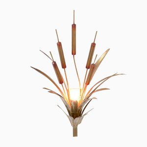 Brass Cattail Wall Lamp Attributed to Maison Jansen, 1970s