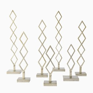 Decorative Metal Geometric Sculptures, 1970s, Set of 7