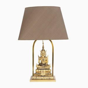 Gilded Brass Buddha Table Lamps, 1970s, Set of 2