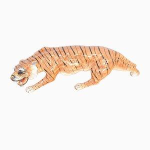 Skulptur eines wandelnden Tigers aus Porzellan, 1970er