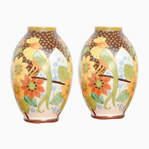 Polychrome Vases by Charles Catteau & Jan Wind for Boch Keramis, 1934, Set of 2