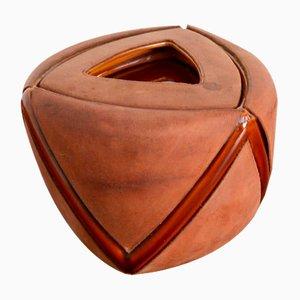 Mid-Century Tabakbehälter aus Leder und Keramik von Longchamp, Frankreich