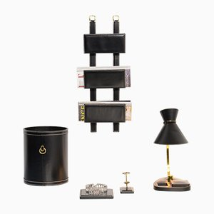 Black Leatherette Desk Set in Style by Jacques Adnet, 1970s