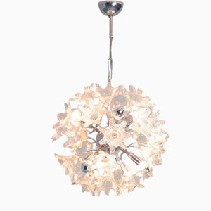 Sputnik Chandelier with Glass Floral Shades, 1960s