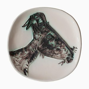 Plato de cerámica Picasso en forma de cabra de Profile Edition 60, años 50