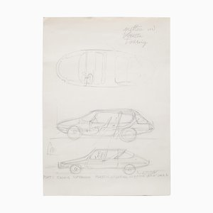 Original Drawing by Gio Ponti for Touring Carrozzeria Milan, 1952