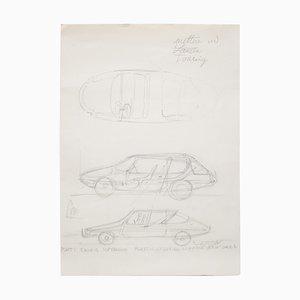 Original Drawing by Gio Ponti for Touring Carrozzeria Milan, 1952