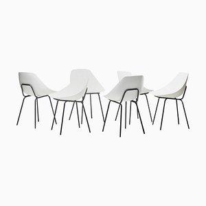 Weiße Esszimmerstühle von Pierre Guariche, 1990er, 6er Set