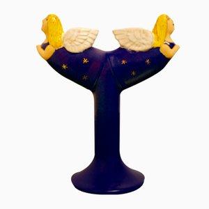 Engel-Kronleuchter in Blau & Gold von Lisa Larson