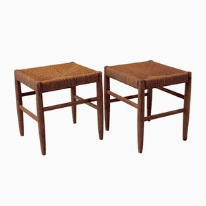 Pine Stools with Rush Seats Attributed to Gunnar Asplund from Gemla, 1930s, Set of 2
