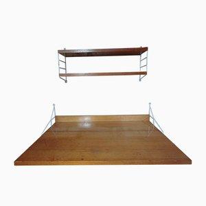 Großer Schreibtisch mit Metallgestell & 2 Regalen von String