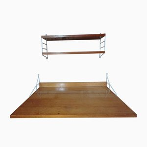 Large Metal Framed Desk with 2 Shelves Wall System from String