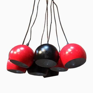 Metal 8-Ball Black and Red Ceiling Light, 1960s