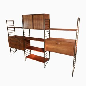 Vintage Bronzed Metal and Teak Wall System, 1960s