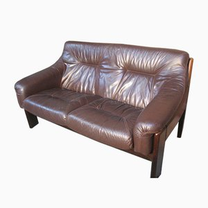 Vintage Brown Leather 2-Seat Sofa