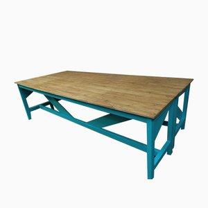Hellgrüner Industrieller Tisch & Metall Stuhl Set aus Bugholz, 1910er