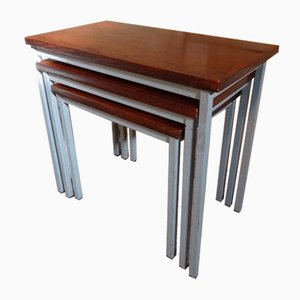 Grey Metal and Teak Nesting Tables from Stiemsma