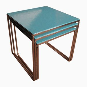 Chrome Metal and Teak Nesting Tables
