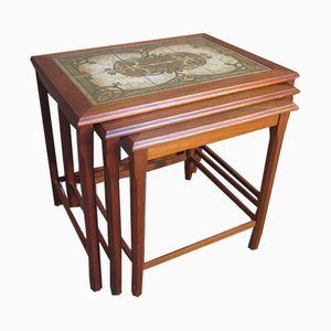 Large Teak and Tiled Nesting Tables, Set of 3