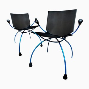Blue Metal Framed Spider Chairs, Set of 2