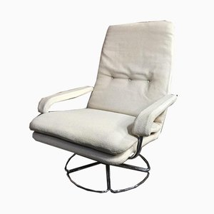 Swivel Chair with Chrome Base & White Wool by Jan Des Bouvri for De Ster Gelderland