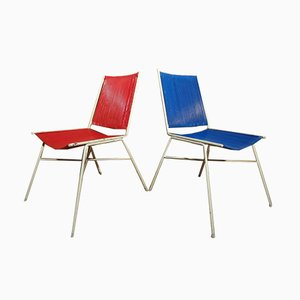 French Red and Blue Wire Chairs, 1950s, Set of 2