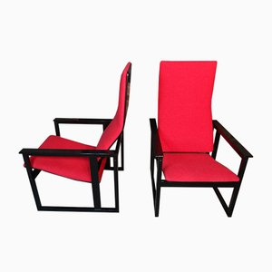Vintage Ebonised Red Fabric Armchair by Simo Heikkil for Pentik