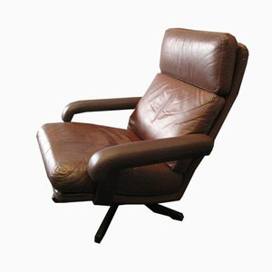 Danish Brown Leather Swivel Armchair