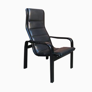 Black Leather Chair by Yngve Ekstrom for Swedese, 1980s