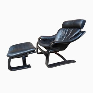 Black Leather Sling Armchair from Nelo Mobel, 1960s