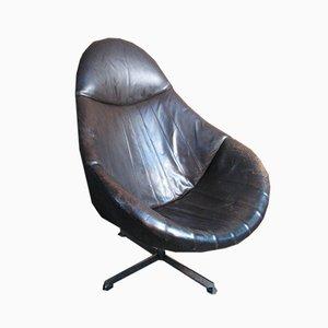 Dunkelbrauner Egg Chair aus Leder von Rohe Noordwolde, 1960er
