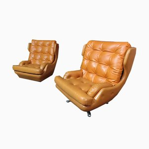Fauteuil Egg Jaune Orange Mid-Century
