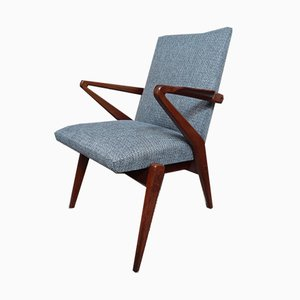 Fabric and Teak Armchair, 1950s