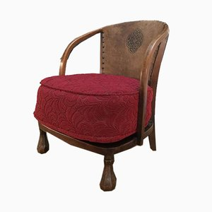 Vintage Art and Craft Armchair with Pretzel Shaped Armrests, 1930s