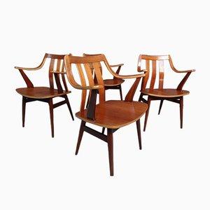 Vintage Organic Teak Dining Chairs, Set of 4