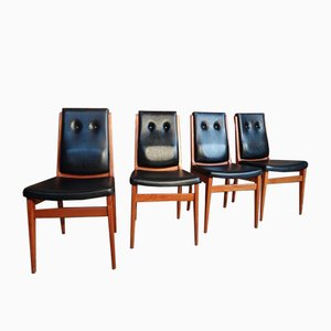 Vintage Solid Teak Side Chairs, 1960s, Set of 4