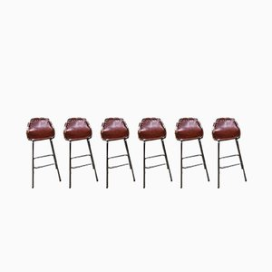 Leather Stools by Charlotte Perriand Chairs for Les Arc, 1960s, Set of 6