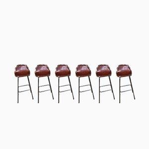 Tabourets en Cuir par Charlotte Perriand Chairs pour Les Arc, 1960s, Set de 6