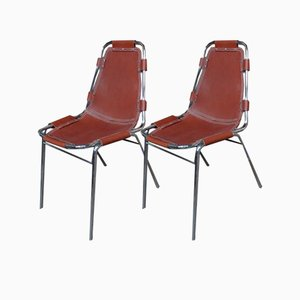 Leather Dining Chairs by Charlotte Perriand Chairs for Les Arc, 1960s, Set of 2
