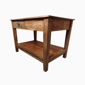 Antique Beech Kitchen Island or Table with Drawer, 1890s