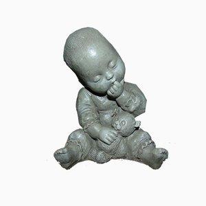 Mid-Century Child with Teddy Bear Figurine