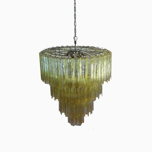 Large Vintage Italian Chrome and Murano Glass Chandelier, 1982
