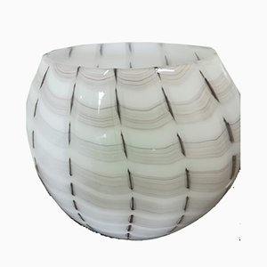 Weiß und Bordeau Vase von Paolo Crepax