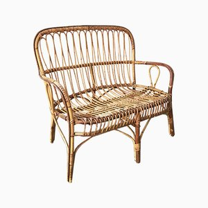 Mid-Century Italian Rattan and Bamboo 2-Seater Bench, 1950s