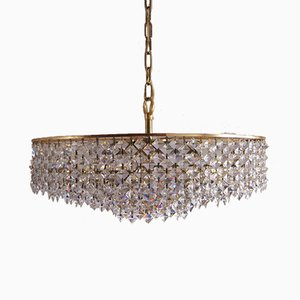 Large Mid-Century Brass and Crystal Glass Ceiling Lamp from Palwa